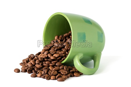 coffee beans spilling out of a
