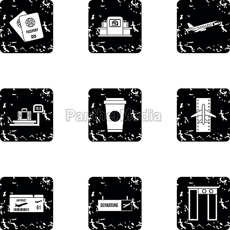 airport icons set grunge style