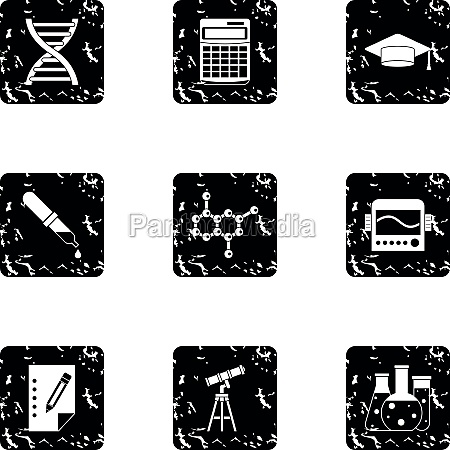 study of science icons set grunge
