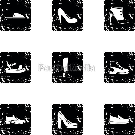 footwear icons set grunge style