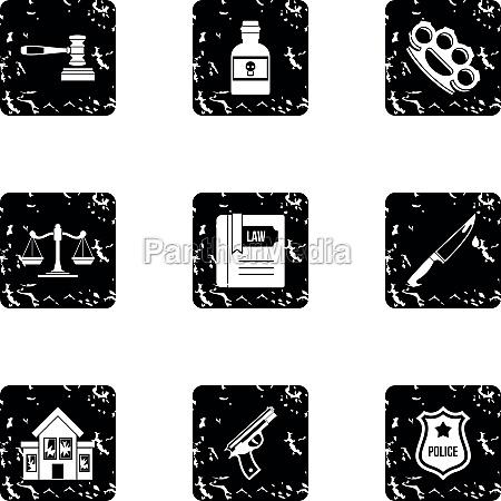 crime icons set grunge style