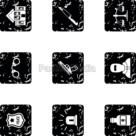 illegal action icons set grunge style