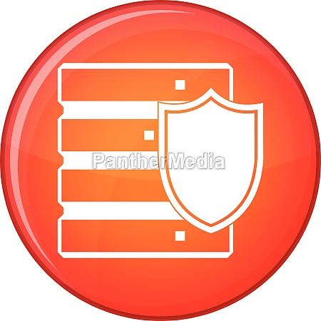 database with shield icon flat style