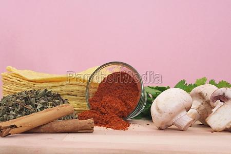 fresh organic ingredients mushrooms and herbs