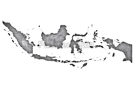 map of indonesia on weathered concrete