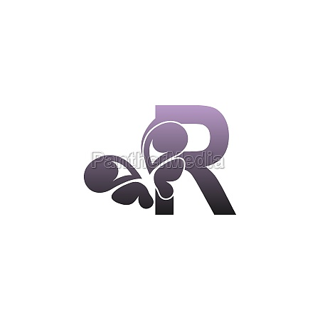 letter r with butterfly icon logo