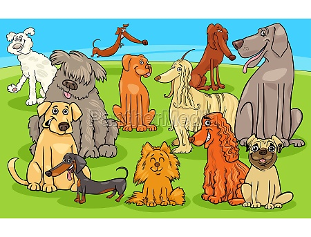 cartoon purebred dogs and puppies characters