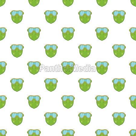 green paintball mask pattern cartoon style
