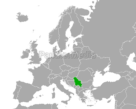 map of serbia in europe