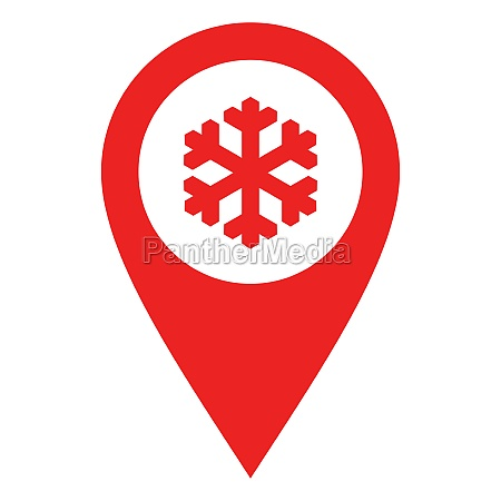 snow flake and location pin