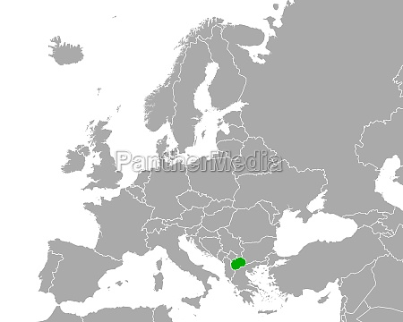 map of north macedonia in europe