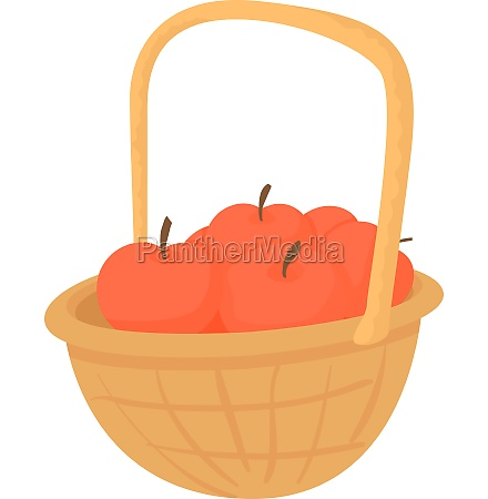 basket with apples icon cartoon style