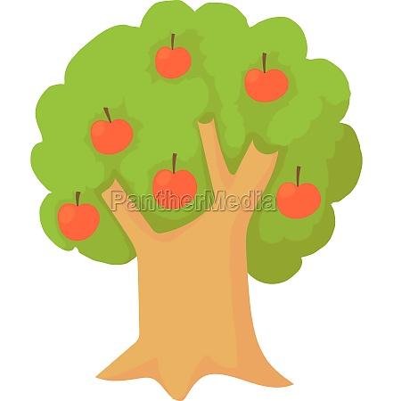 apple tree icon cartoon style
