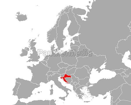 map of croatia in europe