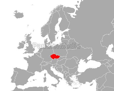 map of czech republic in europe