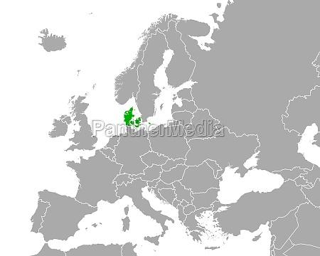map of denmark in europe