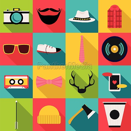 hipster items icons set flat style