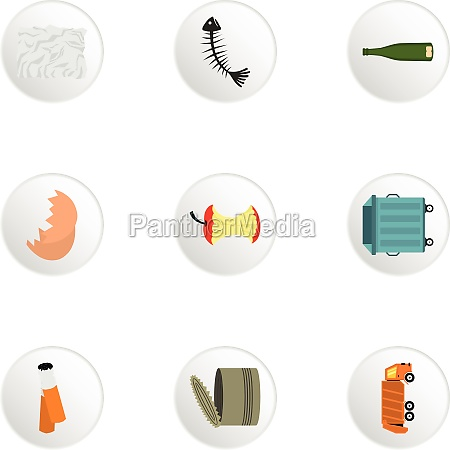 rubbish icons set flat style