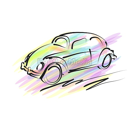 abstract multicolor car