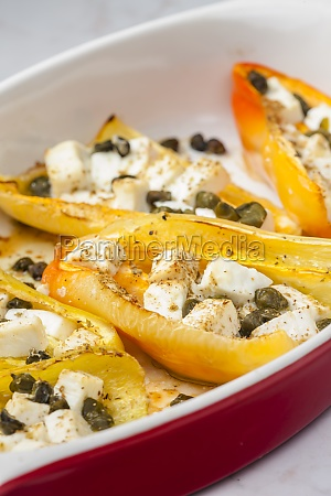baked yellow peppers with feta cheese