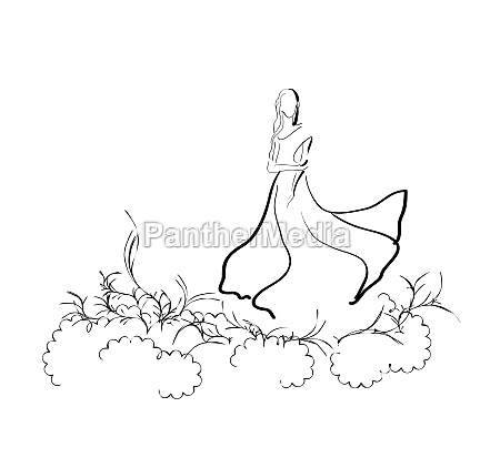 woman in enigmatic meadow
