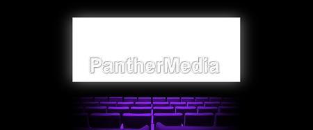 cinema movie theatre with purple seats