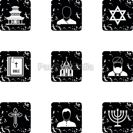 beliefs icons set grunge style
