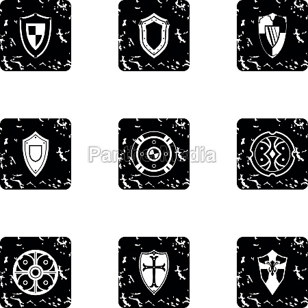 army shield icons set grunge style