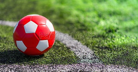 leather soccer ball on the football