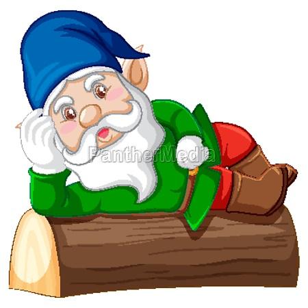 gnome lying on stump cartoon character