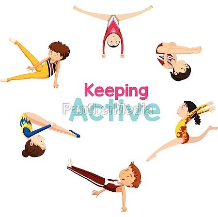 keeping active logo with gymnastics athlete