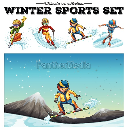 people playing winter sports