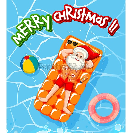 merry christmas font with santa claus