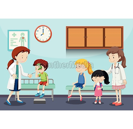 children and doctors in clinic