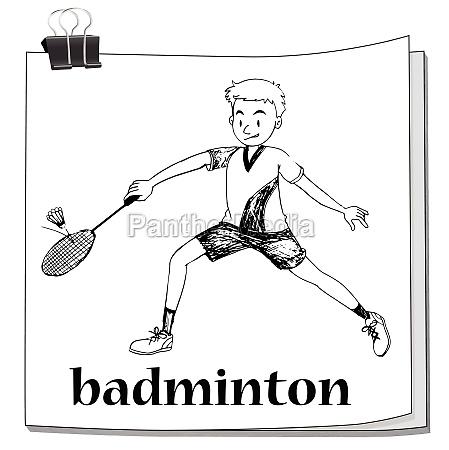 athlete man playing badminton