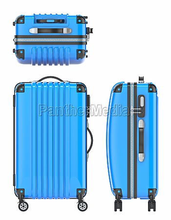blue suitcase front top and side