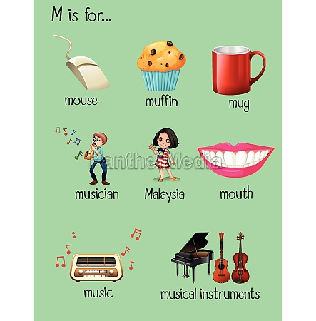 many words for letter m