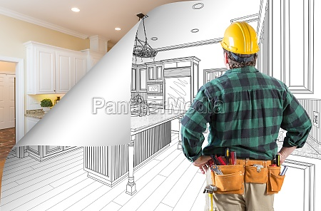 contractor facing kitchen drawing with page