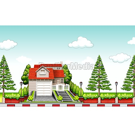 house with red roof at daytime
