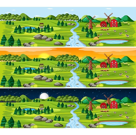 set of countryside landscape in different