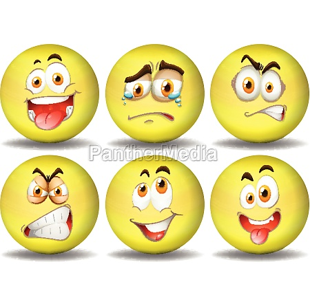 yellow ball expressions emoticons