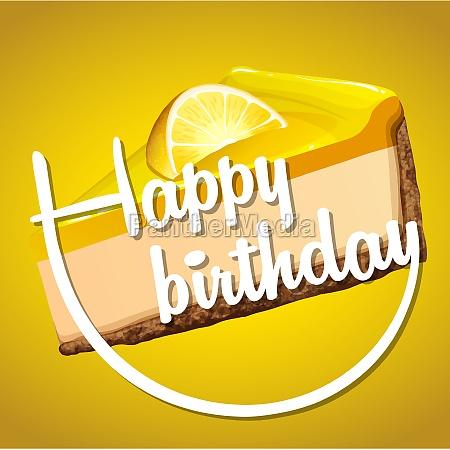 happy birthday card template with lemon