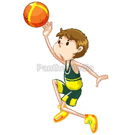 athlete playing basketball on white background