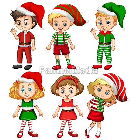 set of different children wearing christmas