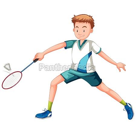 man playing tennis white background