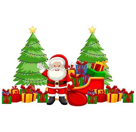 christmas theme with santa and many