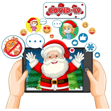santa claus cartoon character on tablet