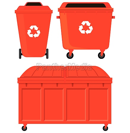 three red rubbish bins