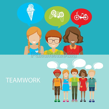 infographic with children and teamwork