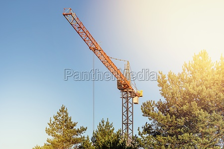 high altitude slewing crane working above